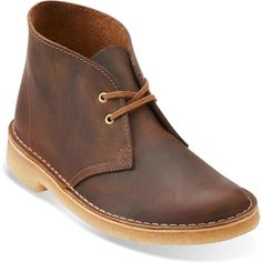 Clarks Women's Desert Boot Beeswax Leather Boots ($120) ❤ liked on Polyvore featuring shoes, boots, ankle boots, low heel boots, desert boots, long boots and short heel boots