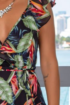 Get this pretty Black Tropical Wrap Dress from Saved by the Dress Boutique. This wrap maxi dress features a fabulous tropical print with ruffle detail. Elegant Dresses, Sexy Dresses, Cute Dresses, Beautiful Dresses, Casual Dresses, Fashion Dresses, Dresses With Sleeves, Formal Dresses, Wedding Dresses