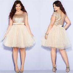 plussizeebony:  Denise BidotinTrixxi Plus Size Dress, Cap-Sleeve Sequin Tulle A-Line