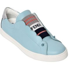 Fendi Women 20mm Leather Slip-on Sneakers (1.921.830 COP) ❤ liked on Polyvore featuring shoes, sneakers, pull on sneakers, leather shoes, fendi sneakers, fendi shoes and metallic sneakers