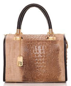 Take a look at this Taupe Crocodile-Embossed Suede Satchel on zulily today!