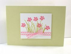 Love the swiss dot ribbon - CAS54 Spring Flowers by mocjen - Cards and Paper Crafts at Splitcoaststampers