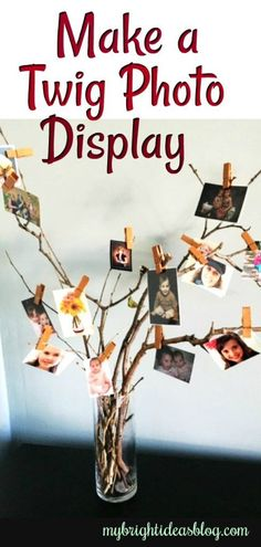 Make a Twig Photo Display - My Bright Ideas Twig Crafts, Diy And Crafts, Wood Crafts, Twigs Decor, Photo Centerpieces, Cardboard Display, Instagram Prints, Photography Day, Kodak Moment