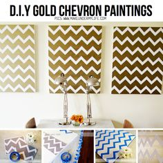 DIY Gold Chevron Paintings