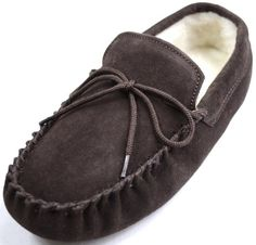 Best Womens Slippers | Snugrugs Womens Dark Brown Wool Lined Moccasin Slippers with Suede Sole Size US 11 -- See this great product. Note:It is Affiliate Link to Amazon. #blue