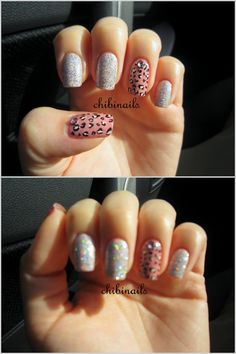 Leopard print and holographic glitter nails.