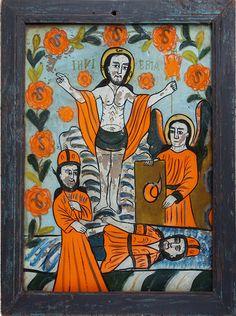 interglasikone aus Nordsiebenbürgen (Nicula/Hajdate), Rumänien, wohl  Mitte 19. Jahrhundert Kandinsky, Art Populaire, Art Brut, Naive Art, Christian Art, Religious Art, Painting & Drawing, Religion, Collage
