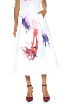 Colorful Face Print Ruffle Skirt