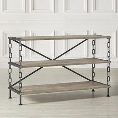 Defined by chain link-inspired legs and a rustic wood top, this media console makes an industrial-chic addition to your living room or den.<br/>Add a touch of rustic beauty to your favorite room, support with sturdy black powder coated metal chain link and definitely will give your room a whole new industrial charming look.