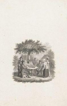 Gezelschap rond een tafel onder een boom, Philippus Velijn, 1797 - 1836