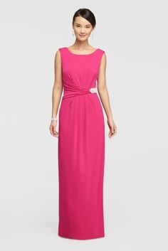 Thiscap sleevejersey dress is style and comfort all rolled into one with its high neckline, cowl backand ruched beaded detail waist!  By Ellen Tracy  Jersey  Back zipper; fully lined  Machine wash cold  Crafted in China Protect your dress before you wear it with our Garment Bag