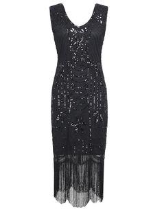 1920s Sequin Art Deco Fringe Hem Flapper Dress Black - PrettyGuide