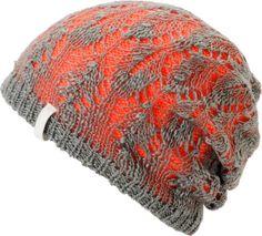 Empyre Girls Noble Crochet Orange & Grey Beanie