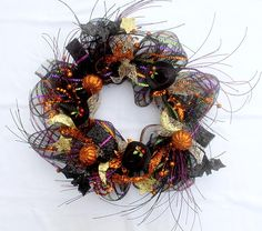 Halloween witches hat wreath, Halloween wreath, Witch's wreath, door décor…