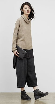 Our Favorite Fall Looks & Styles for Women | EILEEN FISHER  Slouchy layers, a longer unstructured top. Not flattering but interesting. If the sheer layer had one length hem, I don't think this would work as well.
