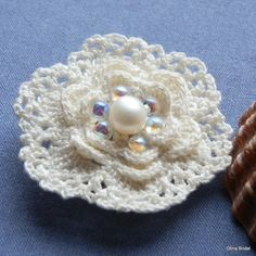 Luxury Irish Crochet Flower Brooch with by BeadsPearlsCrystals, €16.00