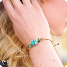 Karma Of Charme Gold Armband Leer Edelsteen ♡ available at www.ibizamusthaves.nl