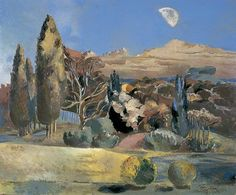 "urgetocreate: ""Paul Nash, Landscape of the Moon's First Quarter, oil on canvas, x 71 cm, Birmingham Museums and Art Gallery "" Barbara Hepworth, Landscape Art, Landscape Paintings, Glasgow Museum, Birmingham Museum, English Artists, British Artists, Art Uk, Your Paintings"