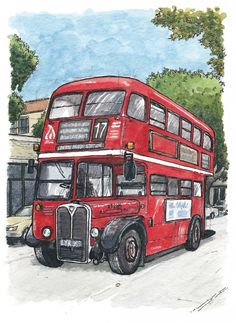red bus in davis Art Print by Pete Scully - X-Small Sweet Drawings, Cartoon Drawings, Bus Drawing, London Drawing, Bus Art, Red Bus, Cartoon Painting, Empire, London Bus