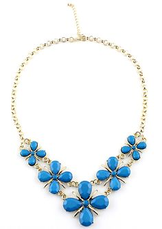 Blue+Gemstone+Flower+Gold+Chain+Necklace+7.93