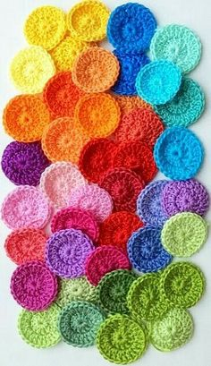Colourful crocheted circles