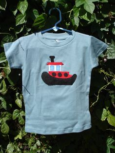 Tugboat Felt Applique Organic Cotton T-Shirt. $22.00, via Etsy.