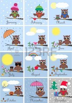 Calendar Royalty Free Cliparts, Vectors, And Stock Illustration. Owl Crafts, Diy And Crafts, Crafts For Kids, Paper Crafts, Owl Clip Art, Owl Art, Owl Classroom Decor, Classroom Teacher, Kindergarten Classroom