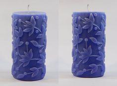 Flower Embossed Fragrance Pillar Candles-Blue Color -Set of 2 Scented Pillar Candles, Blue Candles, Fragrance, Flowers, Color, Colour, Royal Icing Flowers, Flower, Florals