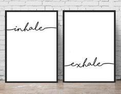 Inhale Exhale Print Yoga Wall Art Typography by PrintsMiuusStudio