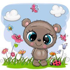 Cartoon teddy bear on a meadow with flowers and Vector Image , Disney Cartoon Characters, Disney Cartoons, Tatty Teddy, Teddy Bear, Free Vector Images, Vector Free, Cute Cartoon Animals, Portfolio, Hello Kitty