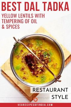 Looking for an easy lentil recipe? Try this one for dinner tonight! This dal tadka recipe comes from Northern India and only takes about 30 minutes to prepare. The preparation of the spices make this vegan dish one that everyone will love. New Recipes For Dinner, Vegan Dinner Recipes, Vegetarian Recipes, Cooking Recipes, Healthy Recipes, Indian Dessert Recipes, Indian Recipes, Punjabi Recipes, Veg Recipes Of India