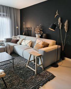 Dark Living Rooms, Boho Living Room, Home And Living, Living Room Decor, Home Room Design, Interior Design Living Room, Living Room Designs, Loft Design, Contemporary Living Room Furniture