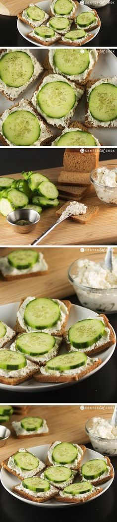 Classic Cucumber Sandwiches made with cream cheese, and the perfect seasonings atop cocktail bread are the perfect appetizer for parties and showers! Cucumber Sandwiches are easy to make and always a crowd pleaser!