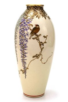 Image detail for -... Meizan: 'Single Bird Among Wisterias' Japanese Satsuma Vase | eBay