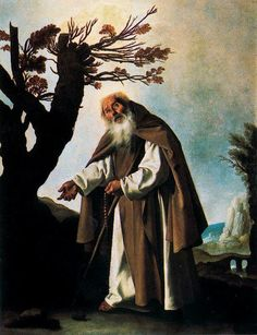 Francisco de Zurbarán Saint Anthony the Abbot, 1636 Private collection · Original location: Monastery of La Merced Descalza, Seville San Antonio Abad, Religious Paintings, Baroque Art, Academic Art, Spanish Painters, Caravaggio, Chiaroscuro, 17th Century, Fashion Art