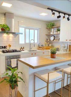 Kitchen Room Design, Home Room Design, Kitchen Sets, Modern Kitchen Design, Home Decor Kitchen, Interior Design Kitchen, Kitchen Furniture, Home Kitchens, Interior Plants