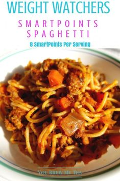 Weight Watchers SmartPoints Spaghetti Recipe is an easy version high in fiber and flavor while low in calories! Your family will love this easy recipe! Ww Recipes, Lunch Recipes, Healthy Recipes, Healthy Eats, Pasta Recipes, Skinny Recipes, Turkey Recipes, Diabetic Recipes, Eating Healthy