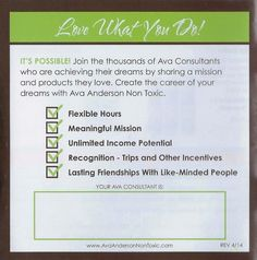 Join me to share Ava Anderson's non toxic message. You won't regret it  Visit and like my consultant page to learn more https://www.facebook.com/pages/Sue-Marshall-Consultant-for-Ava-Anderson-Non-Toxic/533971496704013