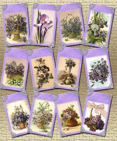 Lavender/Purple/Blue FLoRAL Vintage Art Gift/Hang Tags-paper crafts- PRintable Collage Sheet- JPG Digital File- BuY OnE GeT OnE FREE
