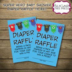 Super Hero (Justice League) Baby Shower Coordinating Diaper Raffle Ticket-INSTANT DOWNLOAD