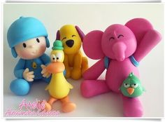Pocoyo and Friends by Gabriellascrafts on Etsy Fondant Figures, Fondant Cake Toppers, Clay Figures, Fondant Cakes, Cupcake Cakes, Cupcakes, Fondant Baby, Mini Cakes, Diy Crafts To Do