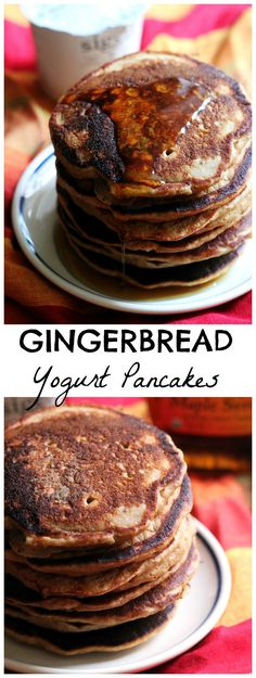 Richly spiced, fluffy gingerbread yogurt pancakes to fill your morning with holiday spirit.