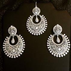 Jazba Tikka and Earring Set - Silver
