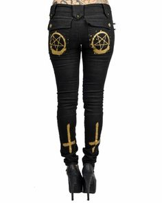Satanic inverted cross and pentagram jeans