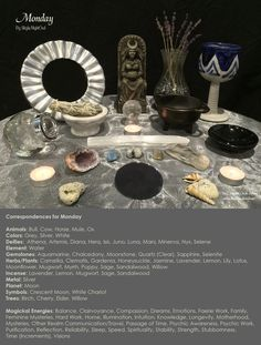 My correspondences chart for Monday with altar. - By Skyla NightOwl - The Magical Circle School - www.themagicalcircle.net
