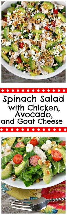 Spinach Salad with Chicken, Avocado and Goat Cheese.  I LOVE this salad- it has been pinned over 100,000 times, and it's a big time favorite recipe on RecipeGirl.com.
