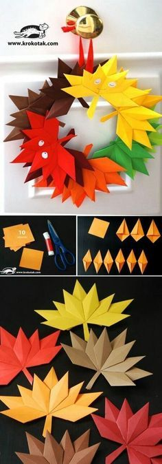 Autumn paper leaves (krokotak) is part of Autumn crafts Wreath Autumn leaves from paper to make a beautiful decoration or a wreath You will need 10 squares - Autumn Crafts, Autumn Art, Thanksgiving Crafts, Holiday Crafts, Autumn Ideas, Kids Crafts, Diy And Crafts, Arts And Crafts, Paper Crafts