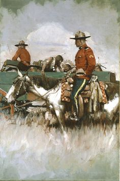 Canadian Mounties with prisoners. An illustration by Harvey Dunn in early Canadian History, American History, Native American, American Illustration, Illustration Art, Howard Pyle, Into The West, Canadian Things, New York Art