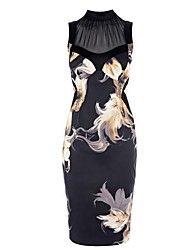 Frauen Blumendrucke elegantes Kleid