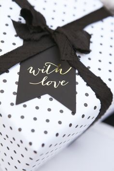 Black and white spotted gift wrap.